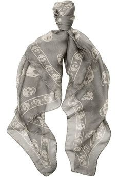 BOUGHT (white and black version) — Alexander McQueen Skull-print silk-chiffon scarf in Grey