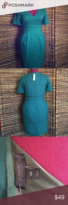 J. Crew dress Beautiful and classic; emerald green. J. Crew Dresses Midi