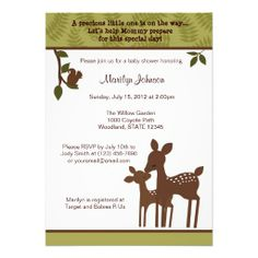 woodland baby shower invitations | adorable baby shower invitation in a forest woodland theme with baby ...