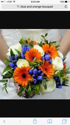 Blue and orange bouquet idea.
