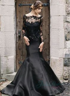 2015 black color illusion lace long sleeved mermaid wedding dress