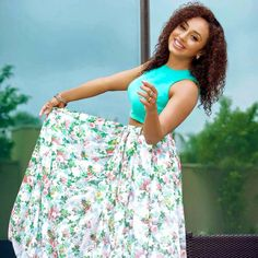 pearle maneey in floral skirt and mint green crop top costume by pranaah