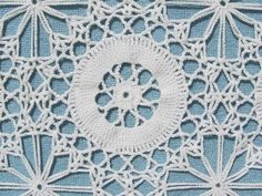 vintage hand-crocheted cotton lace cotton bedspread or tablecloth