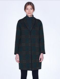 Coat in wool silk plaid with SG embroidery, featuring a lapel collar and pockets with no closure Silk Taffeta, Silk Crepe, Marmaris, Plaid Coat, Models, Parka, St Gallen, High Neck Dress, Embroidery