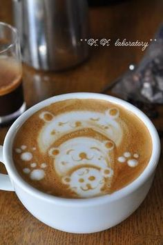 who doesn't like a bear family in their coffee?