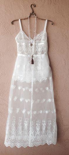 Image of Beach Bohemian Lace maxi bride dress