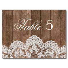 Rustic White Lace and Wood Wedding Table Number Postcard