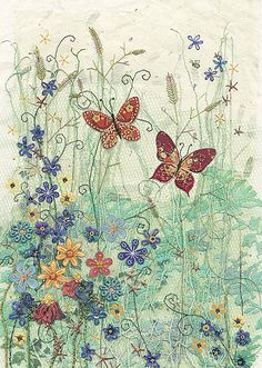 BugArt ~ Blue Meadow. Amy's Cards *NEW* Original embroideries by Amy Butcher. Cards designed by Jane Crowther.