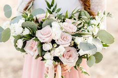 Blush pink bridal bouquet (but not as much greenery as this)