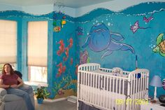 1000 images about nursery ideas on pinterest underwater for Underwater mural ideas