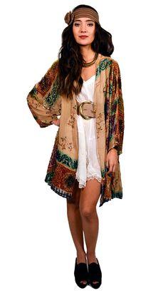 BOHO Flowy Floral Print Summer Festival Gypsy Waterfall Long Vest Wrap Top