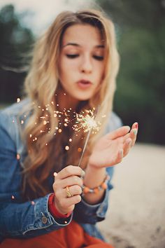 {Beach hair, beach sparklers.}