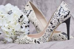 Stunning hand painted shoes for bridal, occasional and eye-catching everyday wear. Unique shoes for everyone in designs to match your style. On Your Wedding Day, Perfect Wedding, Monochrome Weddings, Black And White Shoes, Hand Painted Shoes, Unique Shoes, Latest Shoes, Wearable Art, Wedding Designs