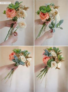 STEP THREE: Start building your bouquet by adding flowers around your base flowers. You can do this by turning the bouquet around and adding stems until your bouquet is at the desirable size. This part is personal preference on what looks best to you.
