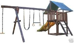 Swing Play Fort PLANS TO BUILD WOODEN SET Easy 2 Do DIY $10.94