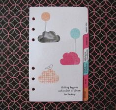 Planner Dividers, Filofax Dividers, 6 tabs. Cloud Birds Balloons. Stationary Diary Pink Mint Orange. Personal Time Organizer Scheduler. op Etsy, 13,38€