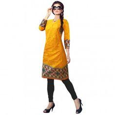 Kurtis - Buy Designer Kurti Online For Women Off - IndiaRush Ethnic Kurti, Ethnic Dress, Girls Kurti, Yellow Print, Absolutely Gorgeous, High Neck Dress, Indian, Printed, Elegant