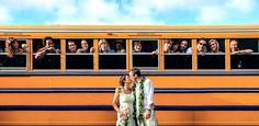 Yellow School Bus : Wedding Group Photo : Hawaii : Sabrina & Dan : Shawn Starr Photography