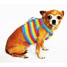 Fun Rainbow Dog Harness Vest Cute Puppy Collars Handmade Crochet Pet Leashes by Myknitt DH60 – Free Shipping by myknitt http://petuoso.com/s/fun-rainbow-dog-harness-vest-cute-puppy-collars-handmade-crochet-pet-leashes-by-myknitt-dh60-free-shipping-by-myknitt/