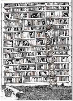 Great bookish picture – gotta reach the book in the library! I Love Books, New Books, Good Books, Books To Read, Coloring Book Pages, Copics, Love Reading, Book Quotes, Book Lovers