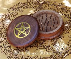 Wooden Herb Grinder Brass Pentacle 3 Pagan by WhiteMagickAlchemy, $10.95