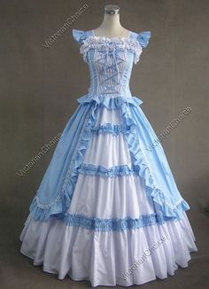 Victorian Gothic Lolita Prom Cotton Lace Dress Ball Gown Theathrical Costume…