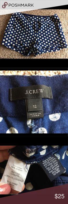 J Crew Linen Polka Dot Navy Blue Shorts 12 J Crew Linen Polka Dot Navy Blue Shorts 12, gently used. J. Crew Shorts