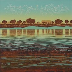 """Estuary mud"" linocut etch by Mark Pearce, edition of 20, 30 x 30cm, £325 (framed) http://www.themeregallery.co.uk/mark-pearce/4579448041"