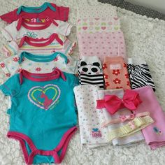 """Baby Girl Bundle 17 Piece Baby Girl Bundle 5 """"Baby Phat"""" Short Sleeve Bodysuits size: 0-3 months 3 Leg Warmers """"NEW"""" one Size 3 Burp Cloths 3 Flannel Receiving Blankets 3 Head Bands/Head Wraps Carters Bags Baby Bags"""