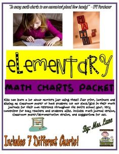 Elementary Math Charts Packet FREE Just print, laminate and display as classroom posters or have students cut out and place/glue in Math Log. Free Teaching Resources, Teaching Math, Maths, Teaching Ideas, Teacher Resources, Primary Resources, School Resources, Math Classroom, Classroom Posters