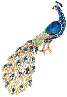 Tiffany peacock brooch with black opals, green tourmalines, sapphires and diamonds set in yellow gold (price on request; Peacock Jewelry, Bird Jewelry, Jewelry Art, Gemstone Jewelry, Jewelery, Fashion Jewelry, Jewelry Design, Gold Jewellery, Vintage Brooches