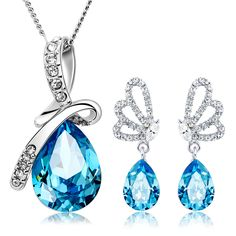 For nec  klace earrings female crystal set short 925 pure silver necklace female mother day gift