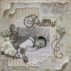 Sweet Dreams ~ Adorable vintage style baby page.