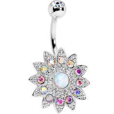 White Faux Opal Aurora Gem Steel Fancy Sparkle Flower Belly Ring