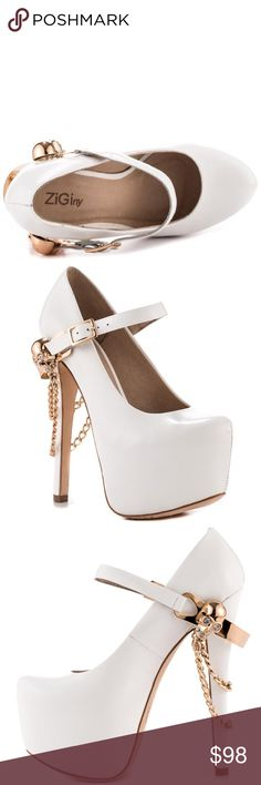 0ebb1b14a096 ZIGIny Skull Jane Pumps Wow the crowd in this stunning limited edition  white mary-jane