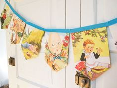 RESERVED for ELIZDAVIN, Mother Goose Nursery Rhymes Bunting Banner, a repurposed vintage 1950's children story book garland