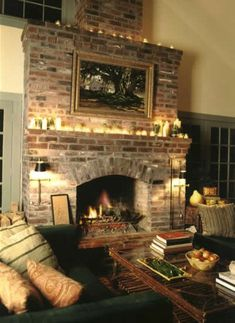 Brick Fireplaces Design, Pictures, Remodel, Decor and Ideas - page 26  With a few French Country Accents this would be more to my taste, yet I love the fireplace & mantle...