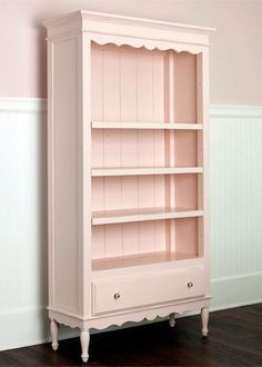 pink hutch @jessicaclariday - couldn't we take a cheapo walmart shelf- put paneling on the back, crown on top, legs on bottom, and you know that ugly piece that is above the sink in the kitchen?? That would work for the fancy parts! We should do it!!