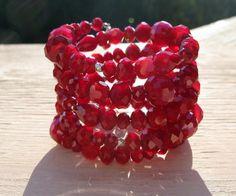 Intense red bracelet , wrap style