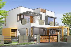 . House Front Design, Cool House Designs, Modern House Design, Modern Exterior, Exterior Design, 2 Storey House, Modern Properties, Kerala House Design, Kerala Houses