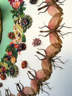 Jennifer Angus' stunning wallpaper--they're an integral part of the design!  Angus, a Canadian artist and professor of apparel and textile design at the University of Wisconsin in Madison, has for the past decade created large installations primarily composed of bugs