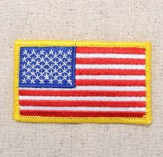 Iron On Embroidered Applique American Flag Yellow Border USA Patriotic SMALL