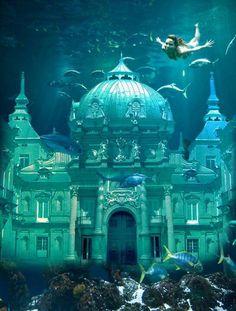 Atlantis: Lair of Poseidon. Atlantis, Sunken City, Underwater City, Lost City, Fairy Land, Abandoned Places, Under The Sea, Beautiful Places, Scenery