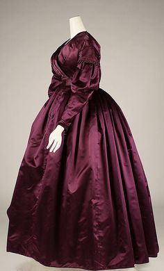 Dress Date: ca. 1840 Culture: British The waist height, the wrapping front is 1830s rather tha 1840. But the sleeves are definitely from 1839-1840