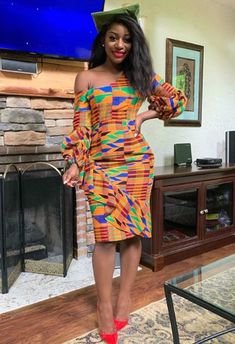 Kente cloth is one of the most use fabrics by Africa fashion designers because if it beautiful and bright colors. African Wear Dresses, African Fashion Ankara, Latest African Fashion Dresses, African Inspired Fashion, African Print Fashion, Africa Fashion, African Attire, African Outfits, African Clothes