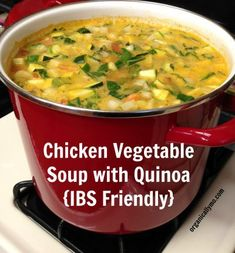 Chicken Vegetable Soup with Quinoa IBS Friendly - Organically Mo - diet plan - Vegetable Soup Healthy, Vegetable Soup With Chicken, Chicken And Vegetables, Chicken Quinoa Recipes, Veg Soup, Cooked Chicken, Chicken Soup, Vegetable Recipes, Veggies