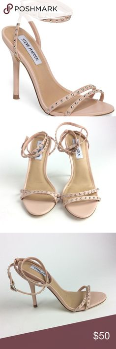 """Steve Madden Wish Womens Blush Pink Studded Heels Details & Care Domed studs punctuate the slender straps bridging the toe and wrapping the ankle of a barely there leather sandal lofted on a penthouse-view stiletto.  4"""" heel  3"""" strap height Adjustable ankle strap with buckle closure Cushioned footbed Leather upper/synthetic lining and sole Loc: Shelf S094 Steve Madden Shoes Heels"""