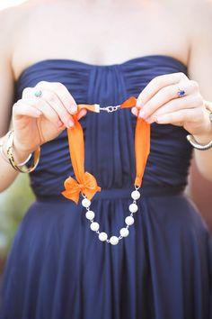 Orange Bridesmaid Necklaces - 5 Silk Ribbon Necklaces - Wedding Necklaces - Set of 5 bridesmaid gifts