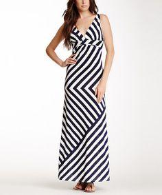 Navy & White Chevron Empire-Waist Maxi Dress by Papillon Imports #zulily #zulilyfinds