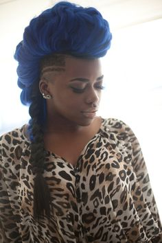 #hair Blue Mohawk wish i could wear thisa color to work i would rock this!! yall know i love to be different